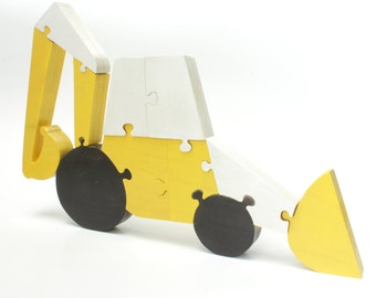 Backhoe Decor and Puzzle in Yellow