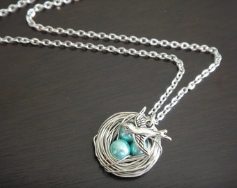 Aqua Blue Pearl Beaded Bird's Nest Necklace