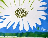 1960s Vera Ladybug Signature Daisies on Turquoise Oblong Scarf