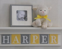 "Baby Girl Nursery Decor - Yellow and Gray Nursery Wall Art - Custom Personalized 24"" Linen (Off White) Shelf 6 Wooden Letter Plaques HARPER"
