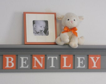 Nursery Wall Shelving - Baby Boy Nursery Art Orange and Gray - Shelf with Painted Wall Tile Letters