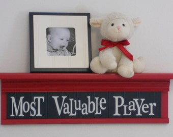 "Children's Sports Room Decor - Most Valuable Player Sign on 24"" RED Shelf, NAVY Blue Nursery"