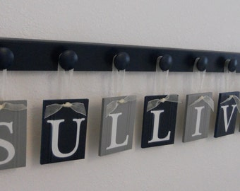 Navy Blue and Gray Nursery Wall Set includes Baby Boy Name SULLIVAN and 8 Wooden Pegs Navy