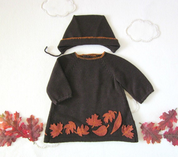 Knitted dress, cap set in dark brown with felt leaves. 100% wool. READY TO SHIP size newborn.