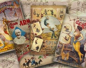 Circus Clowns Carnival Sideshow Posters 2.5 x 3.5 inches ACEO ATC Acrobats Clowns Decoupage Digital Collage Sheet Printable Download 104