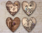 Valentine Flowers Children Love Hearts Vintage Antique Decoupage Digital Collage Sheet Instant Download 050