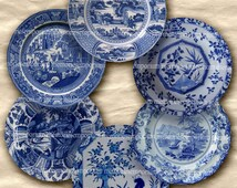 Shabby Chic Blue and White China Plates for Doll House Two 2 Inch Circles Buttons Magnets Printable Digital Collage Sheet Download 257