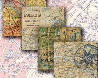 Shabby Chic Paris Maps Squares Vintage Tourist Street Maps Decoupage Digital Collage Sheet Download 189