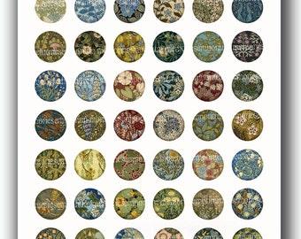 Art Nouveau Circles 1 inch Floral Inchies for Jewelry Pendants Bezels Magnets Buttons Bottlecap Decoupage Digital Collage Sheet Download 153