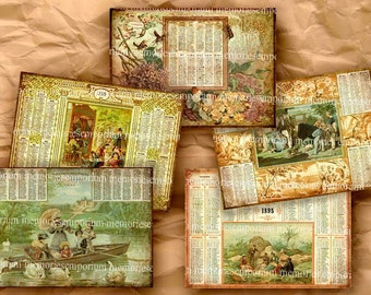 Old French Almanacs Late1800s Pocket Size ACEO ATC Calendars Eclipses Seasons Decoupage Digital Collage Sheet Instant Download 218