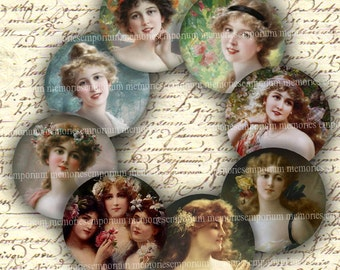 Victorian Beauties Circles 2 Two Inch Rounds for Magnets Jewelry Compacts Digital Collage Sheet Instant Download 060