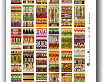 Ancient Egypt Clipart Digital Paper Patterns 1 x 2 inch Domino for Jewelry Bezel Pendant Decoupage Digital Collage Sheet DIY Printable 128