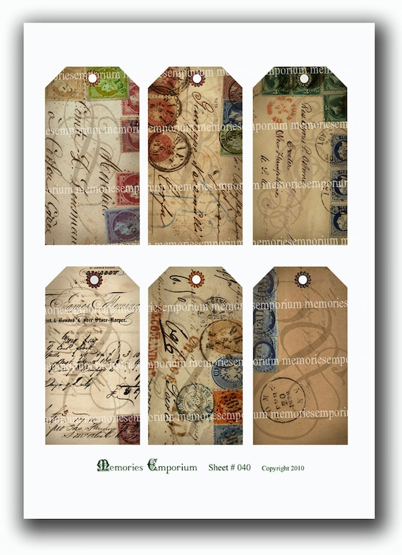 Shabby Chic Hang Tags Old Envelopes Stamps Handwriting Hangtags Gift Tags Cards Decoupage Victorian Ephemera Digital Paper Collage Sheet 040