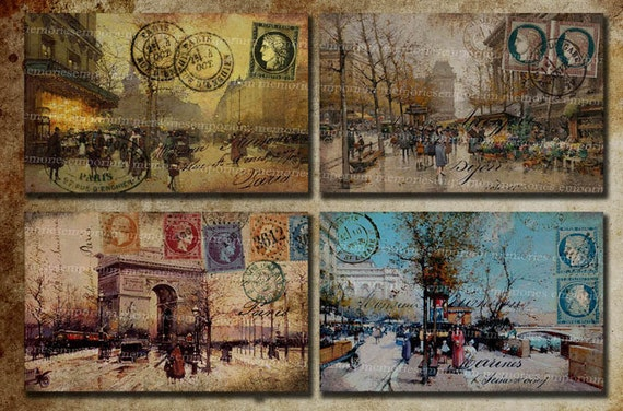 Shabby Chic I Love Paris Antique French Postcards Street Scenes Vintage Decoupage Journaling Backgrounds Digital Collage Sheet 208