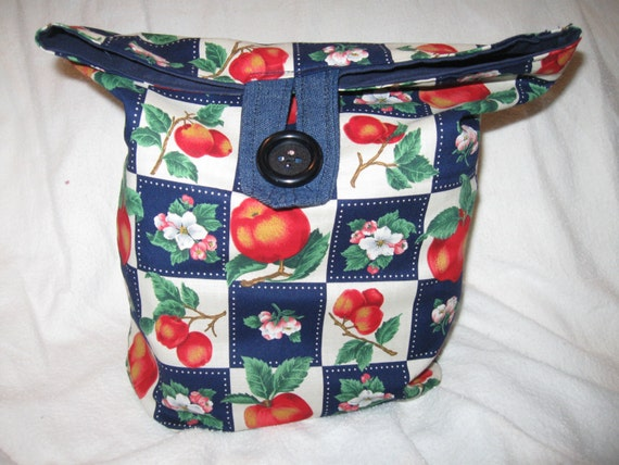 Recyclable Lunchbag or Lunchsack Peach Print All Cotton Reversable Reusable lunchbag or Go Green lunch sack