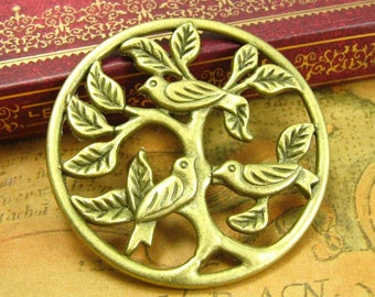 6 pcs Antique Bronze Tree Charms Bird Charms CH1302