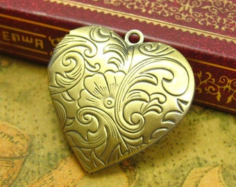 5 pcs Heart Shaped Photo Lockets Antique Bronze Nickle Free 29mm CH1337