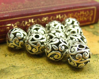 10 pcs Silver Beads Metal Beads Filigree Beads Spacer Beads 11x11mm CH1362