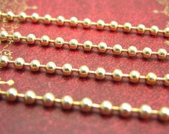 16 Feet Gold Ball Chain Nickle Free 2.4mm CH1434