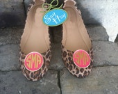 Preppy Pair of Monogram Enamel Shoe Clips for Ballet Flats, Wedges, or Heels