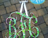 "Preppy 24"" Interlocking Wooden Initials Monogram Cutout Hand Painted inspired by Lilly Pulitzer prints, bedding, dorm rooms"