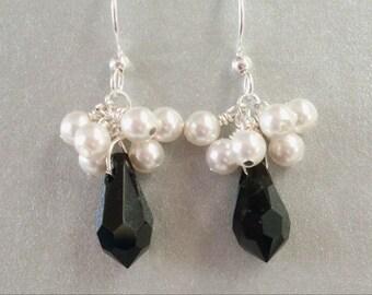 Black teardrop earrings, white pearl cluster - Swarovski crystals and pearls. Black and white earrings. Pearl crystal jewelry.