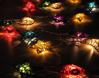 Colourful Rattan star string lights for Patio,Wedding,Party and Decoration (20 bulbs)