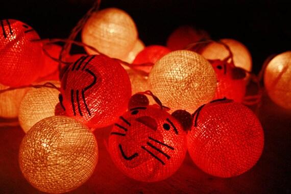 Cat cartoon cotton ball string lights for PatioWeddingParty