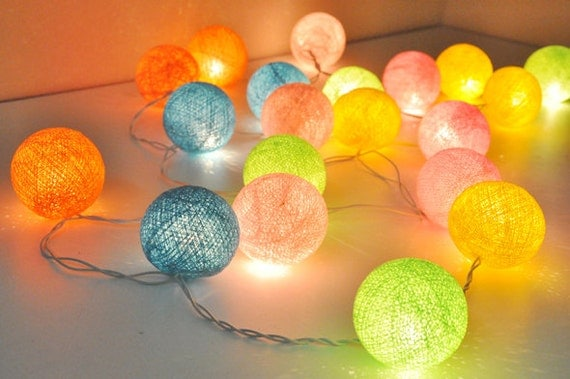 sweet colour cotton ball string lights for patioweddingparty. Black Bedroom Furniture Sets. Home Design Ideas