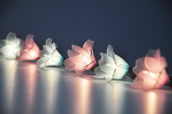 Pink & Blue flower string lights for PatioWeddingParty and