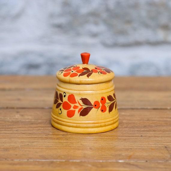 Vintage Folk Art Container - Storage - Made in USSR - Box - Collectible - Kitchen Decor