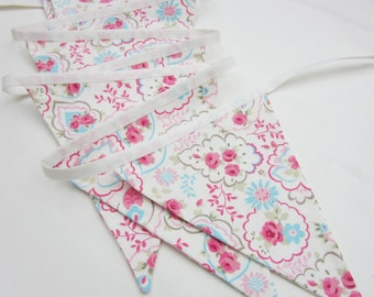 Cottage Chic Bunting, White and Pink Paisley, Fabric Bunting Pennant Bane'er, Wedding Bunting, Flag Garland, Christening Decor, Double Sided