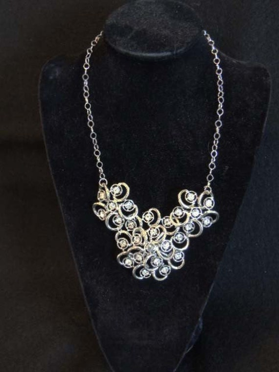 RHINESTONE  Bib BRIDAL Wedding Prom NECKLACE Vintage Assemblage Repurposed Couture  Sarah Coventry