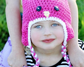 Girl Bird Beanie ~ Crochet Sweet Tweets Hat with Ear Flaps--Ready to ship