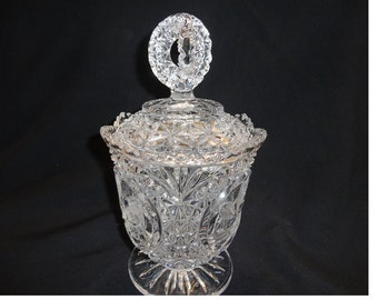 Hofbauer Byrdes Clear Crystal Bowl with Lid on Footed Base