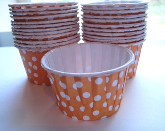 24 MINI Cupcake Muffin Liners Orange with White polka dots CUP111