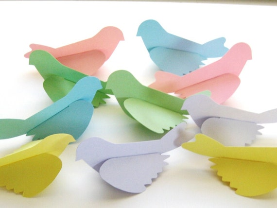 10 Large Pastel Birds Die Cut Paper Punch Scrapbooking