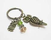 Bronze Owl Charm Keychain Green Eyes Picasso Czech Rondelles