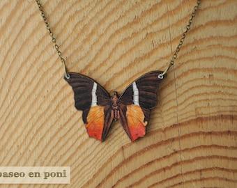 Orange Butterfly Necklace