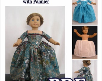 English Gown circa 1700 - 1710 with White Cotton Pannier Pdf Dress Pattern for AG or 18 inch Doll - INSTANT DOWNLOAD