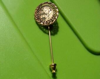 Vintage Gold Filled Filigree Stick Pin Brooch