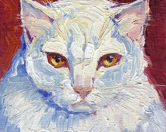 White cat with yellow eyes, pink nose and catitude, oil on small panel. Commissions available