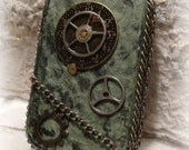 Steam  Punk altered tin box, embellished, Green. MADE TO ORDER