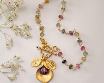 Friendship Bracelet - October Birthstone Bracelet - Pink Tourmaline Bracelet - Personalized Bracelet - Toggle Bracelet - Calla Lilly