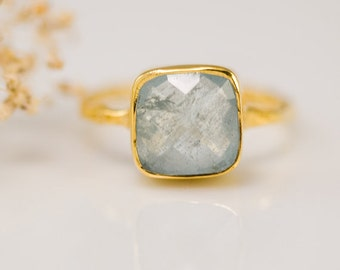 Aquamarine ring Gold - March Birthstone Ring - Solitaire Ring - Stacking Ring - Gold Ring - Cushion Cut Ring