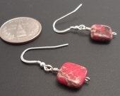 Pink Impression Jasper, Earrings, Sterling Silver 12013