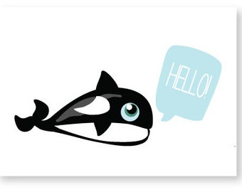 Orca Whale Hello Greeting Card
