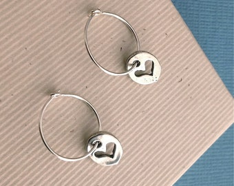 Tiny heart silver disc earrings, silver hoop earring, heart charm, silver heart jewelry, heart jewelry, minimalist jewelry, everyday jewelry