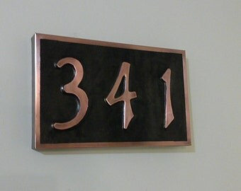 Real patina copper Address Plaque House 3 numbers