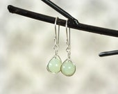 New Jade Earrings, Serpentine Earrings, Wire Wrapped Earring, Wrapped Stone Earrings